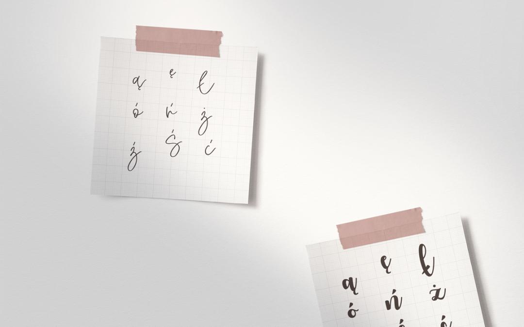 90+ odręcznych fontów zpolskimi znakami