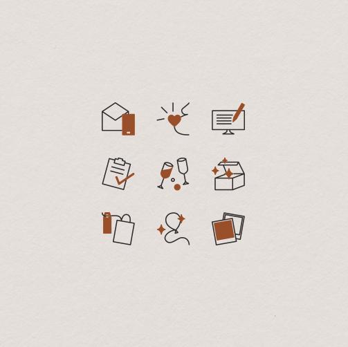 Ikony - zestaw ikon | Zaskocz Mamę identyfikacja wizualna | Portfolio Moyemu