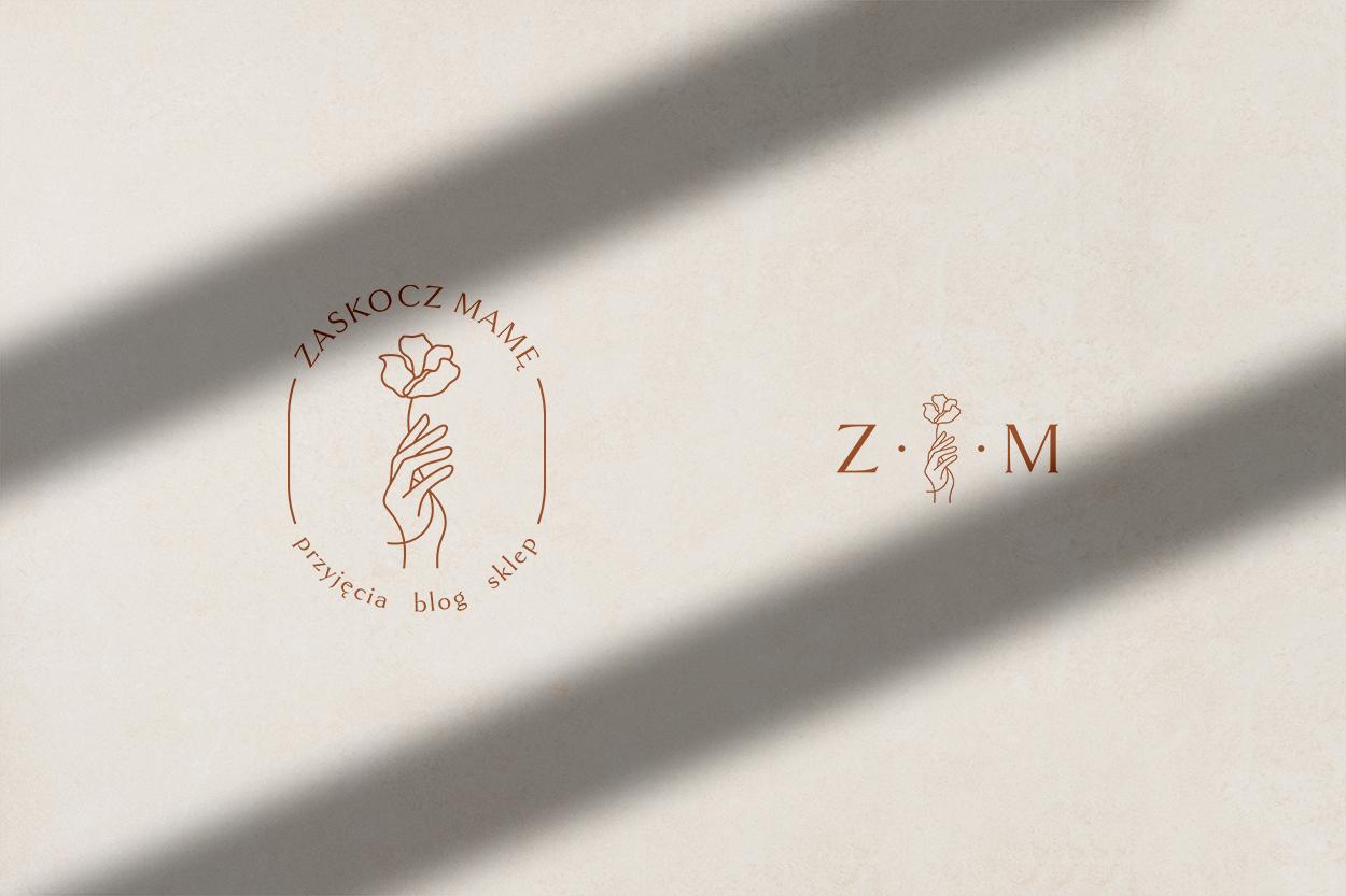 Zaskocz Mamę logo alternatywne, znak marki, znak wodny - identyfikacja wizualna, logo dla marki | Moyemu - studio kreatywne