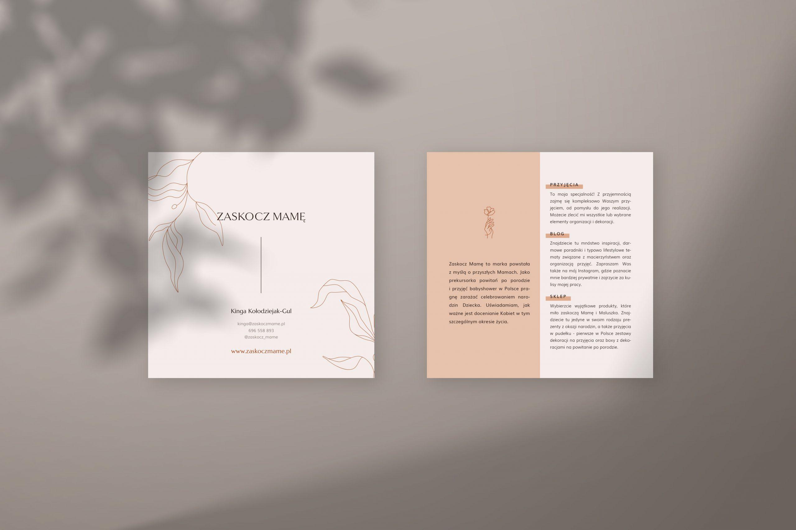 Ulotki reklamowe - Zaskocz mamę | identyfikacja wizualna, materiały firmowe, logo dla firmy | Studio brandingowi Moyemu
