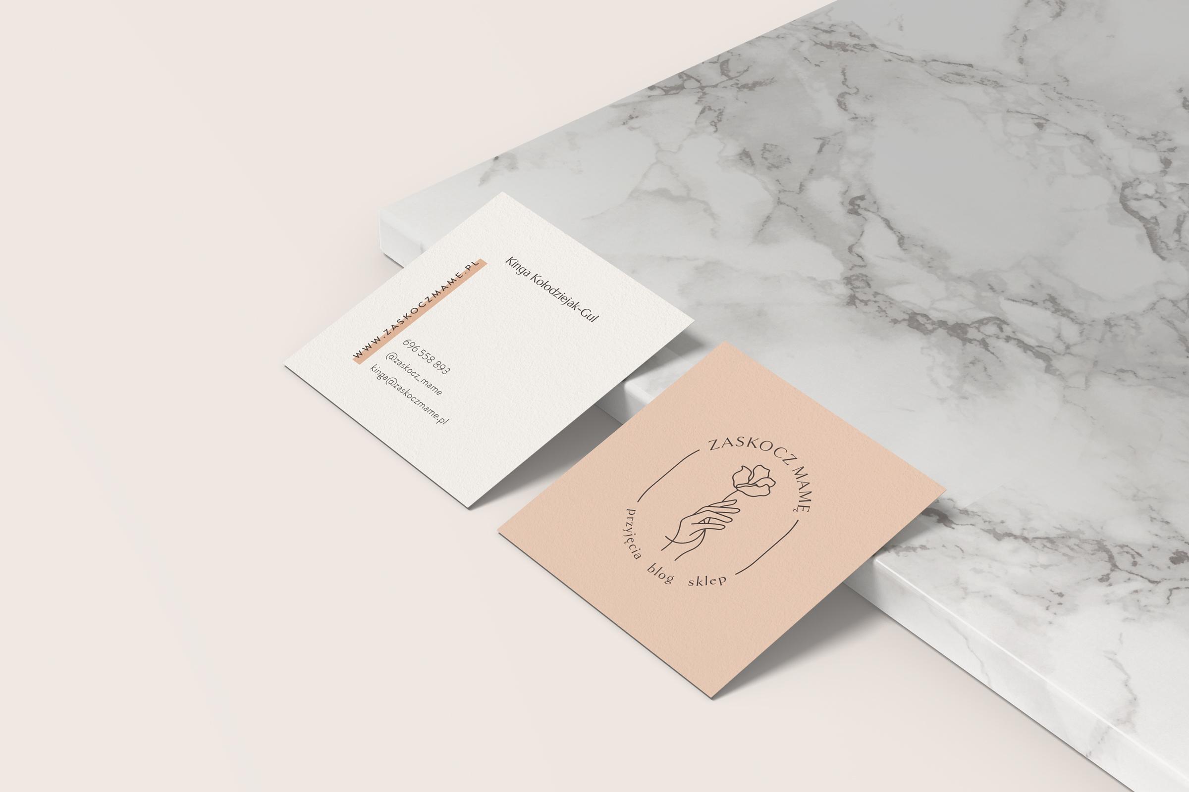 Wizytówki - Zaskocz mamę | identyfikacja wizualna, materiały firmowe, logo dla firmy | Studio brandingowi Moyemu